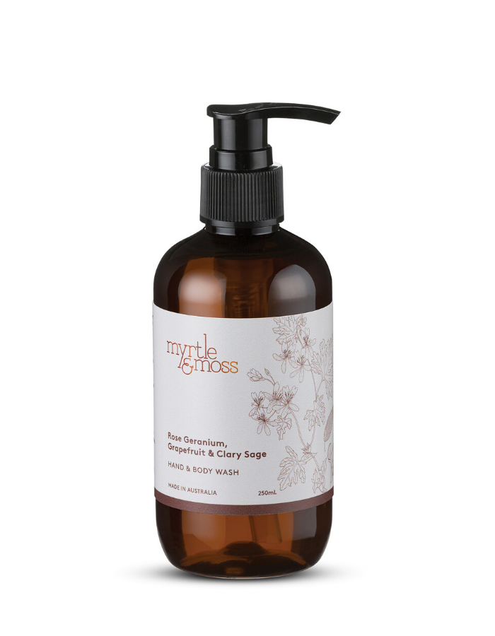 Myrtle & Moss - Hand & Body Wash: Rose Geranium, Grapefruit & Clary Sage 250ml