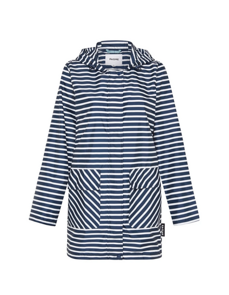PAQME Recycled Anyday Raincoat - Navy Stripe