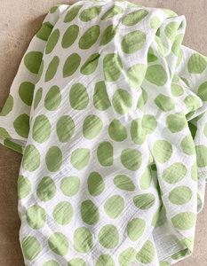 Bright Threads Baby Swaddle - Polka Green