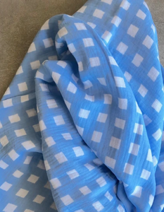 Bright Threads Baby Swaddle - Gingham Blue