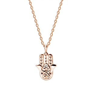 MURKANI Hamsa Necklace with White Topaz in Rose Gold