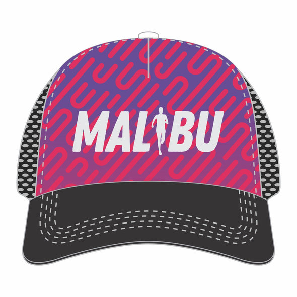 'Malibu Embroidered' Relaxed Fit Trucker - Tech 5-Panel Snapback - Black / Purple Lines