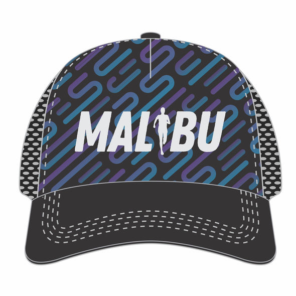'Malibu Embroidered' Trucker - Tech 5-Panel Snapback - Black / Purple Lines
