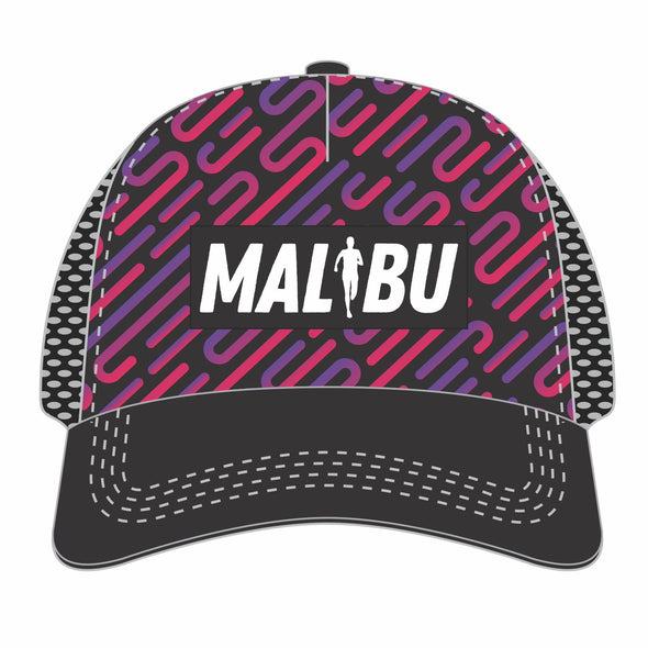 'Malibu Patch' Trucker - Tech 5-Panel Snapback - Black / Blue Lines