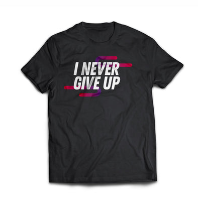 'Never Give Up' Men's Rayon Blend SS Raglan Tee - Black
