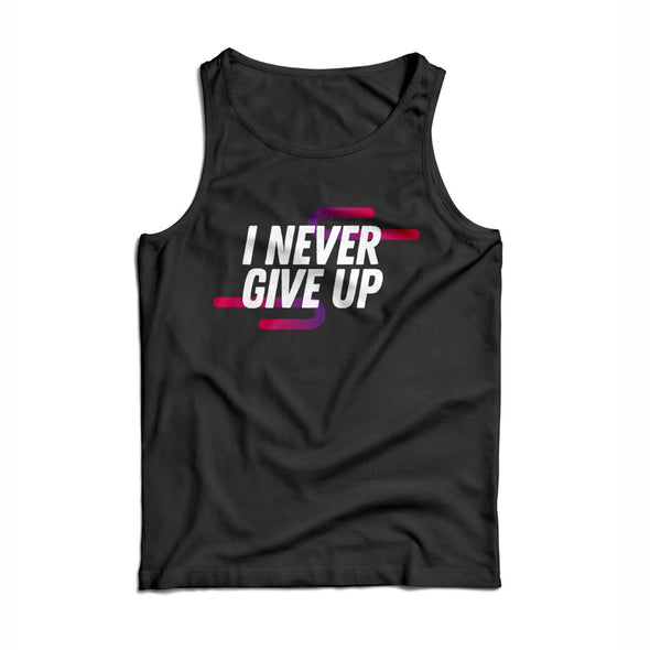 'Never Give Up' Women's Rayon Blend Muscle Tank - Black