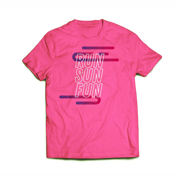 'Run Sun Fun' Women's Rayon Blend SS Raglan Tee - Pink