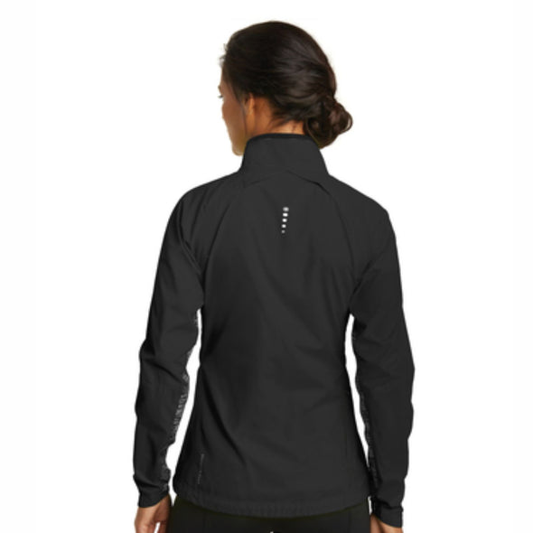 Left Chest Embroidery Women's Reflective Zip Water-Resistant Shell - Blacktop
