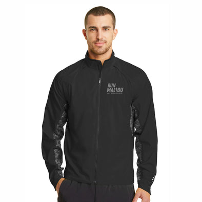 Left Chest Embroidery Men's Reflective Zip Water-Resistant Shell - Blacktop
