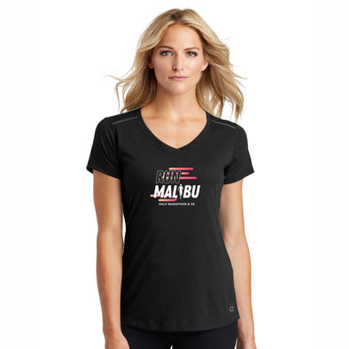 'In Training 2021' Women's Tech SS V-Neck Tee - Blacktop