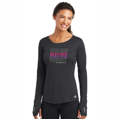 'Repeat' Women's Tech LS Thumbhole Tee - Blacktop