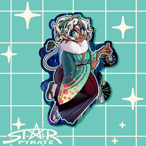 Gyuumi New Years Kimono Holographic Sticker