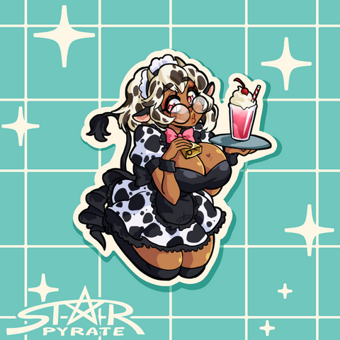 Cow Maid Sticker