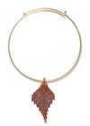 Birch Leaf Bangle Bracelet- Iridescent Copper