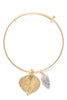 Aspen Leaf and Cone Double Bangle Bracelet- Gold & Silver