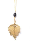 Birch Leaf Stone Necklace- Gold