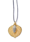 Aspen Leaf and Cone Double Necklace- Gold & Silver