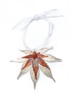 Japanese Maple Leaf Double Ornament- Silver & Iridescent Copper