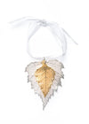 Birch Leaf Double Ornament- Silver & Gold