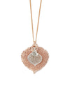 Aspen Leaf Double Necklace- Rose Gold & Silver