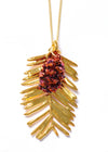 Redwood Needle and Redwood Cone Double Necklace- Gold & Iridescent Copper
