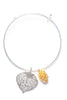 Aspen Leaf and Cone Double Bangle Bracelet- Silver & Gold