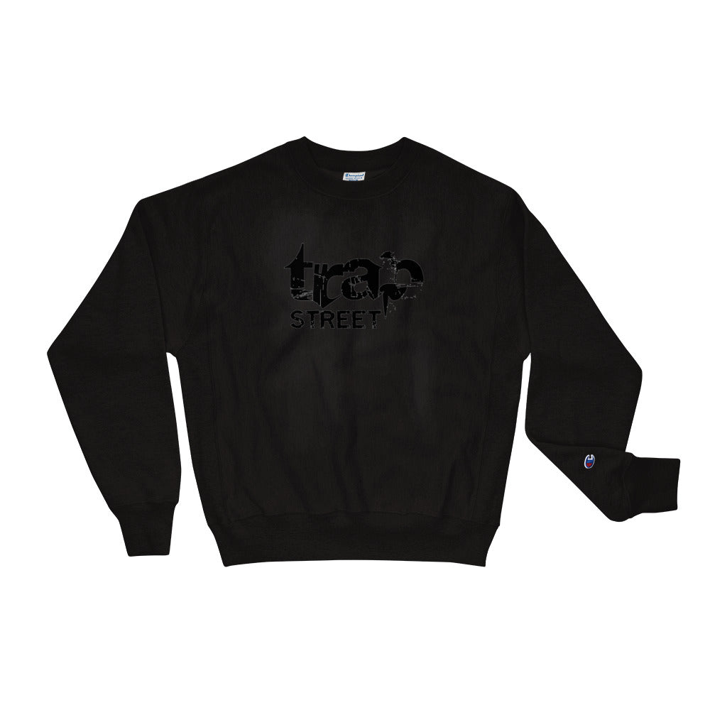 Trap Street x Champion Reverse Weave Printed Black Logo w/ White Outline Crewneck Sweatshirt