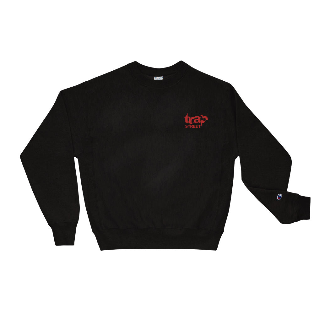 Trap Street x Champion Reverse Weave Embroidered Red Logo Crewneck Sweatshirt