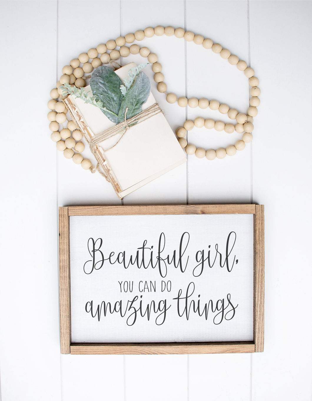 Beautiful Girl You Can Do Amazing Things | Framed Wood Sign | Girls Bedroom Sign | Baby Gift |  Girls Nursery Sign | Girls Sign | Girl Room