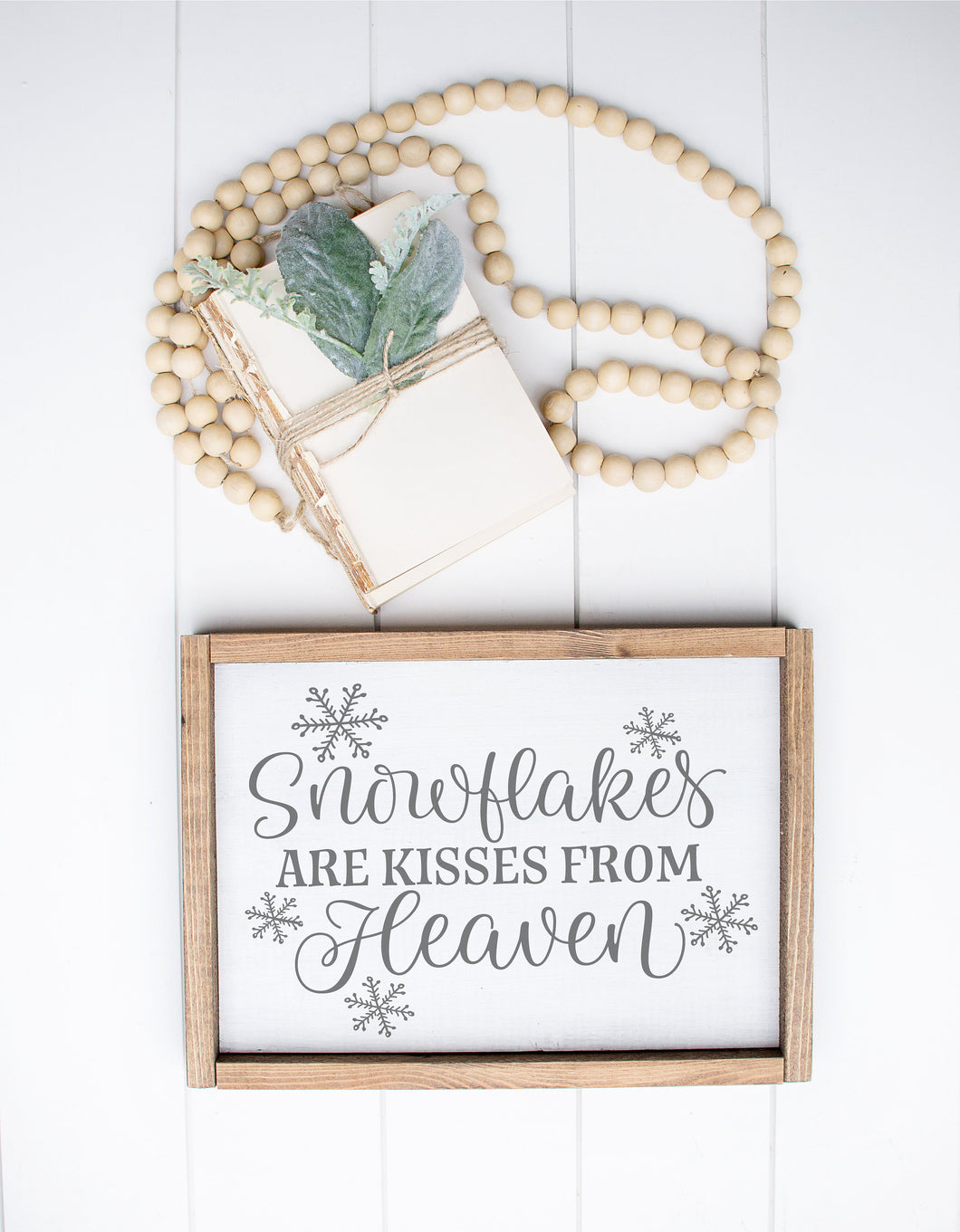 Snowflakes Are Kisses From Heaven | Framed Wood Sign | Sympathy Gift | Memory Gift | Memorial Sign | Farmhouse Sign