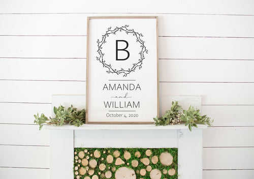 Family Name Sign | Framed Wood Sign | Wedding Gift Sign | Wedding Gift Personalized | Wedding Gifts For Couples | Anniversary Gift