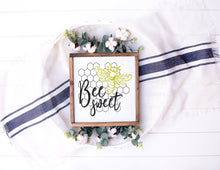 Load image into Gallery viewer, Bee Sweet Sign | Framed Wood Sign | Personalize Home Decor | Honeybee Sign | Girls Sign | Bee Sign |  Bumble Bee | Bee Quote