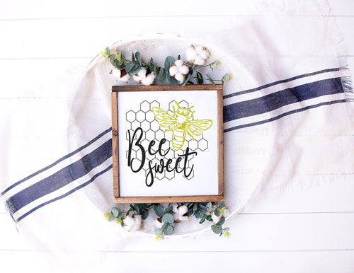 Bee Sweet Sign | Framed Wood Sign | Personalize Home Decor | Honeybee Sign | Girls Sign | Bee Sign |  Bumble Bee | Bee Quote