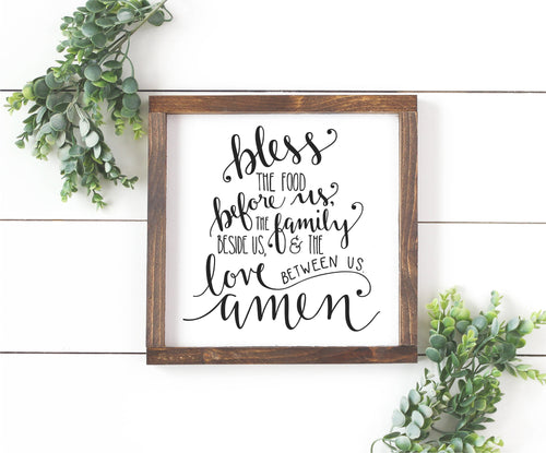 Bless The Food Before Us Wood Sign | Dining Room Sign | Dining Room Wall Decor | Blessing Sign | Kitchen Wall Decor | Prayer Sign