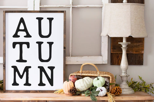 Autumn Sign | Framed Wood Sign | Custom Home Decor | Fall Sign | Autumn Decor | Fall Decor | Fall Decoration | Thanksgiving Decor