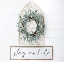 Load image into Gallery viewer, Stay Awhile Sign | Entry Sign | Living Room Sign | Family Sign | Stay Awhile Wood Sign | Stay Awhile Sign Large  | Cursive Sign | Den Sign