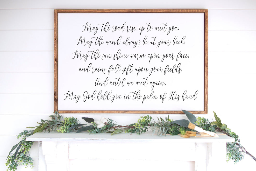 Irish Blessing Sign | Framed Wood Sign | May The Road Rise Up | Irish Prayer | Housewarming Gift | Irish Saying | Inspirational Quote