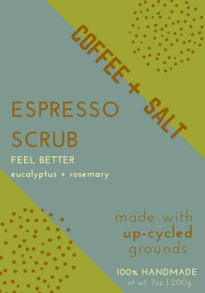 Feel Better Espresso Scrub with Eucalyptus and Tangerine essential oils