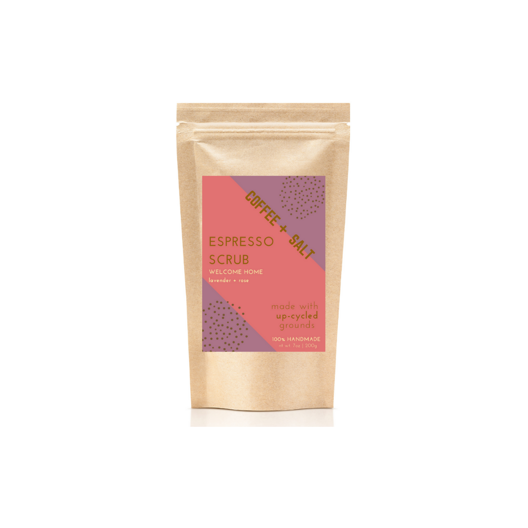 Welcome Home Espresso Scrub with Lavender and Rose essential oils