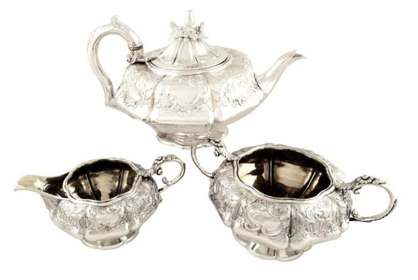 Antique Georgian Sterling Silver 3 Piece Teaset – 1827