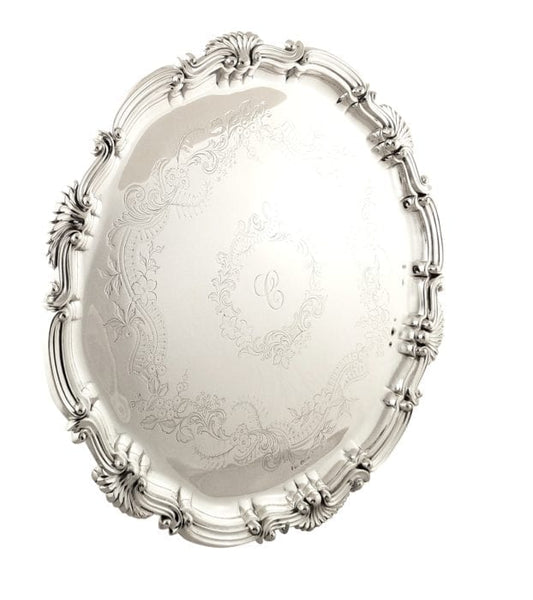 Heavy Antique Victorian Sterling Silver 16″ Tray / Salver 1900