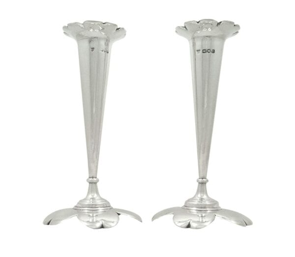 Pair of Antique Edwardian Sterling Silver 'Petal' Vases 1901