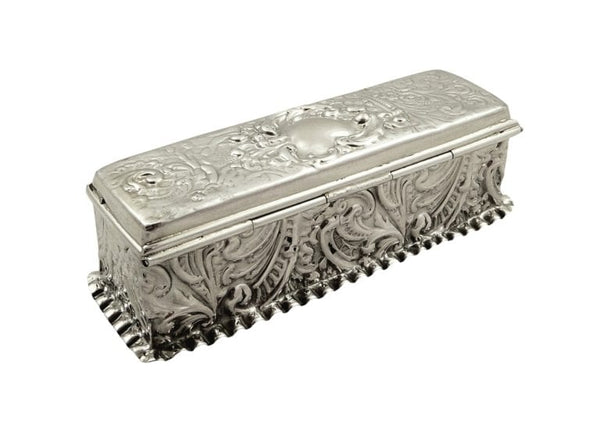Antique Victorian Sterling Silver Trinket Box 1898