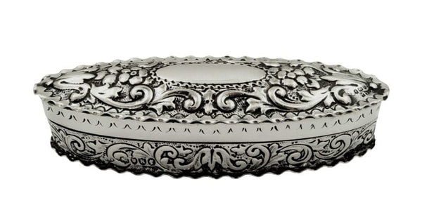 Antique Victorian Sterling Silver Trinket Box 1885