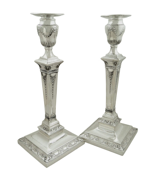 Pair of Antique Victorian Sterling Silver 11″ Candlesticks 1876
