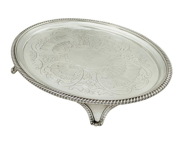 Antique Georgian Sterling Silver Oval Tray 1804