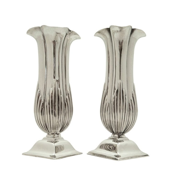 Pair of Antique Victorian Sterling Silver Vases 1873