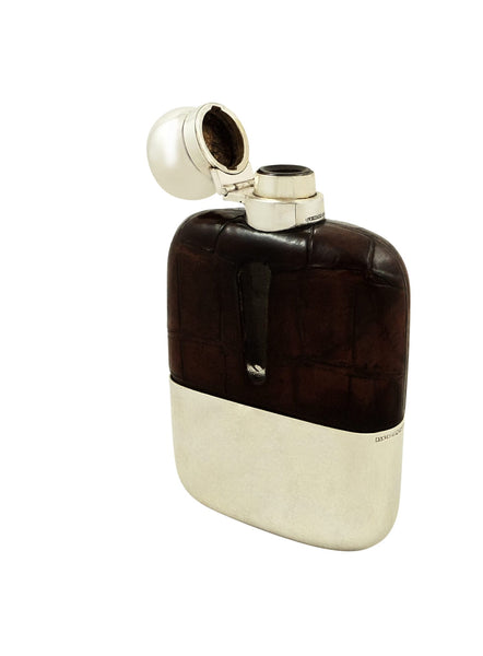 Antique Silver Plated & Crocodile Leather Hip Flask with Cup 1931