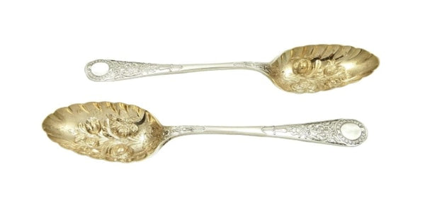 Pair of Antique Victorian Sterling Silver Berry Spoons 1891