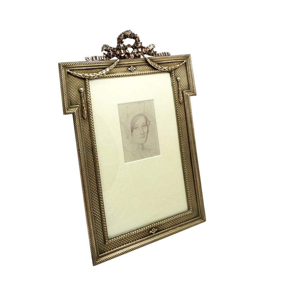 Antique Bronze Empire Style 10 1/2″ Photo Frame c1880